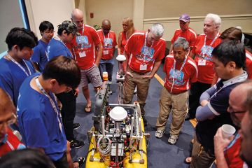 A University of Ulsan team have their efforts judged in a robotic boat competition in the US