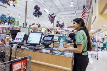 American checkout worker