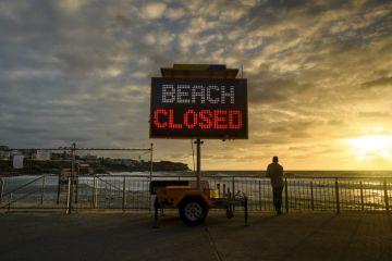 Beach closed sign for Covid in Australia