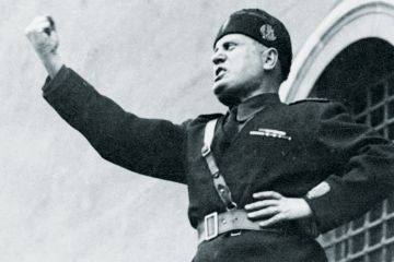 Benito Mussolini (National Fascist Party) addressing rally, 1933