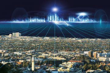 Montage of UC Berkeley and hi-tech cityscape