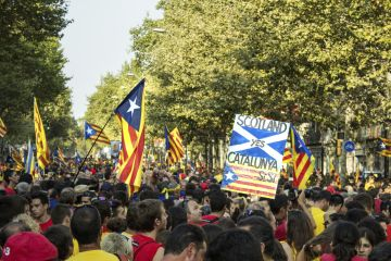 Protest on the streets of Barcelona on the National Day of Catalonia 2014