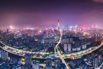 Night view of the city of Shenzhen, China