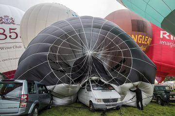 Collapsed hot air balloon