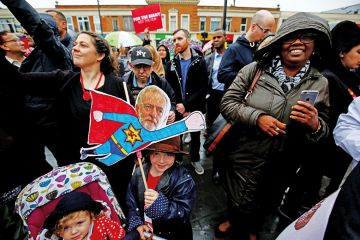 Supporters of Britain's opposition Labour party campaign in Southall, London