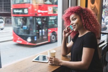 A female student in a London cafe