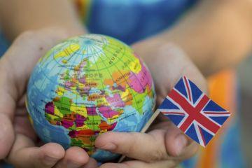 Globe and UK flag