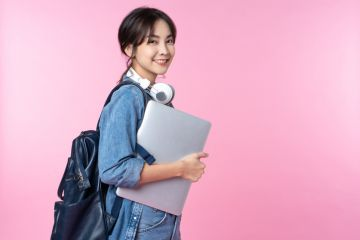 Smiling young Asian student