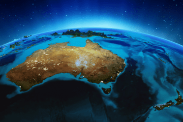 Australia New Zealand globe