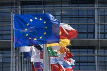 European Union (EU) flags flying