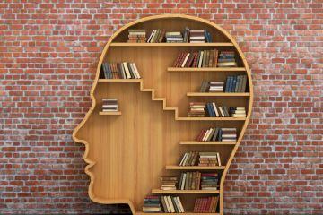 Books on head-shaped shelving
