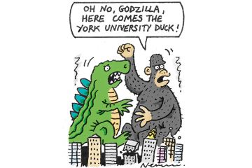 Cartoon about comparing Godzilla to tall duck at University of York