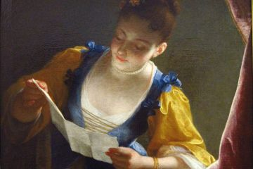 Painting of woman reading letter