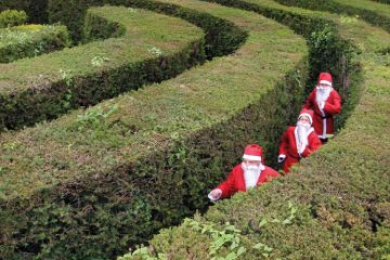 People in maze dressed as Santa Claus