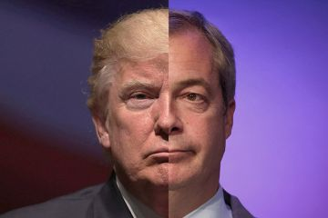 Portrait montage of Donald Trump and Nigel Farage