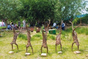 Reading tree sculpture