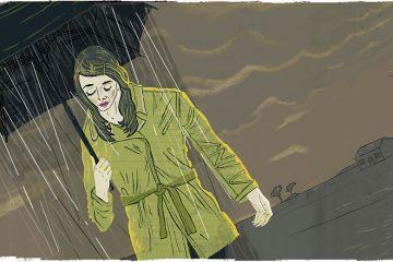 sad woman in the rain