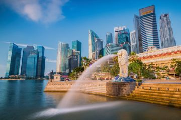Singapore skyline, Merlion fountain, Asia University Rankings 2016