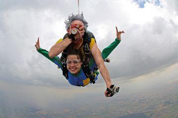 Dad and daughter in tandem skydive