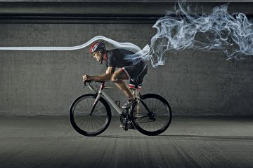 Smoking cyclist