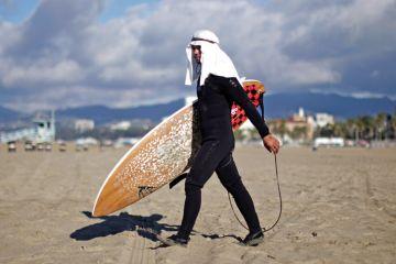 Surfer at Halloween surf contest, Santa Monica, Los Angeles, California