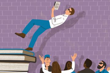 Illustration of man reading book falling on to group of people. Trust