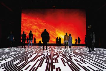 People view Ryoji Ikeda's latest installation  'Micro | Macro' at Carriageworks on July 3, 2018 in Sydney, Australia