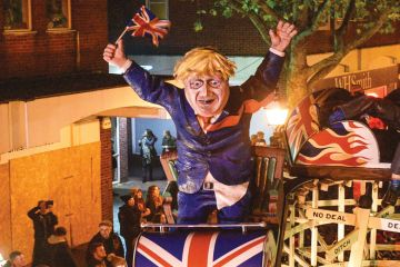 Model of Boris Johnson paraded through the streets during traditional Bonfire Night celebrations as a metaphor for In his explosive evidence to a parliamentary committee