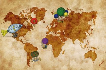 Balloons and world map