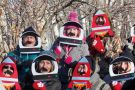 Relatives and friends of International Space Station (ISS) Canadian astronaut Chris Hadfield gather for his farewell before a final pre-flight preparation near his hotel at the Baikonur Cosmodrome