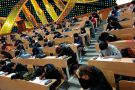 Students take a test