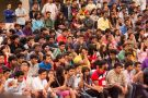 Crowd of Indian students listening to presentation