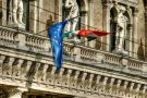 EU and Hungarian flags in Budapest
