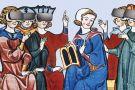 Illustration of medieval figures wearing VR headsets