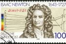 Isaac Newton on German stamp
