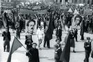 Supporters of Karl Liebknecht and Rosa Luxemburg march in the May Day parade in 1948