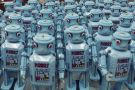 Mass of blue robots