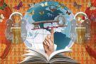Illustration of key and globe