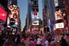People eating in Times Square, New York City