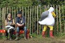Person in seagull costume