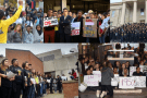 Montage of pictures from student protests in the US over racism on campuss