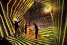 Researchers inside astronomical simulation, Los Alamos National Laboratory