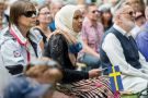 Swedish people participating in National Day of Sweden celebrations, Norrköping, Sweden