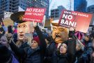 demonstration on January 29, 2017 in Seattle, Washington, against Trump's executive order banning Muslims from certain countries.