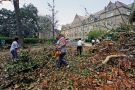 Workers remove debris at Tulane University after Hurricane Katrina