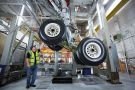 Airbus aircraft landing gear is tested at the Airbus aircraft manufacturer's Filton site
