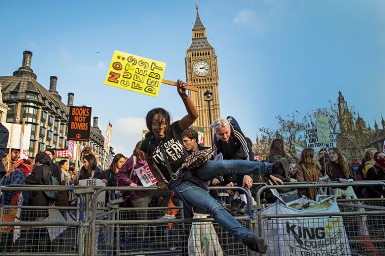 Anti-tuition fees demonstrators at Westminster