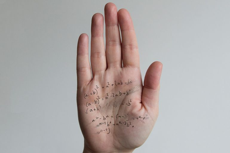 Cheat hand with answers written on palm