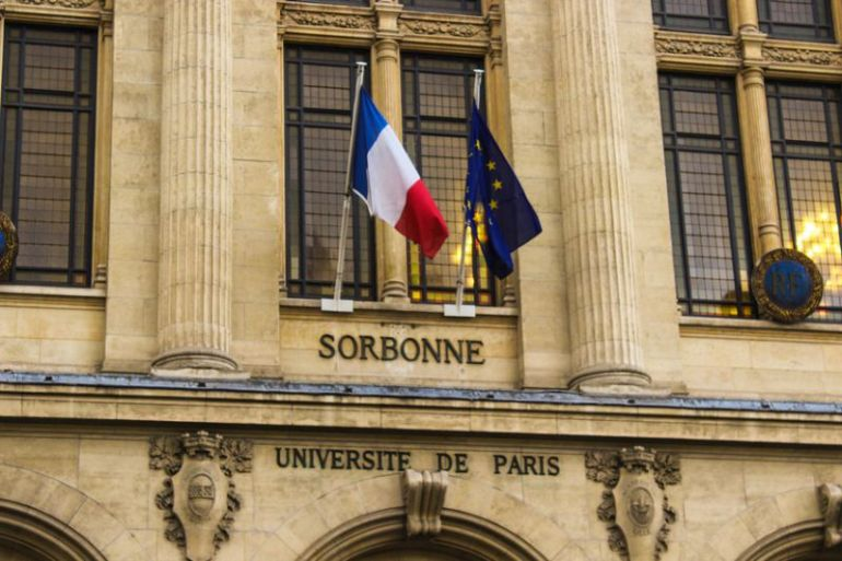 Facade of Sorbonne in Paris
