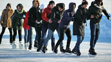 A group of ice skaters